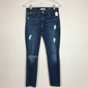 7 for all mankind distressed skinny ankle jeans 28